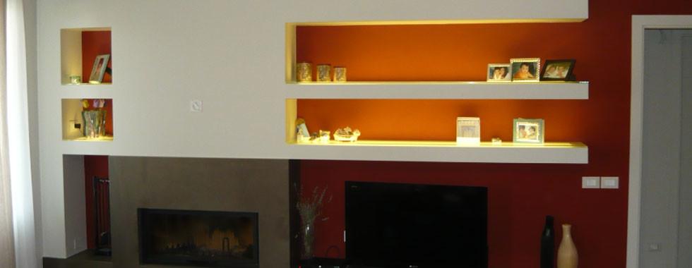 Pareti Attrezzate Salotto Cartongesso: Mobili soggiorno in cartongesso parete attrezzata.